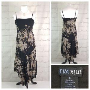Eva Blue 6 Black Floral Asymmetric Hanky Hem Dress